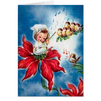 Cartão Anjo bonito do vintage, passarinhos cantando