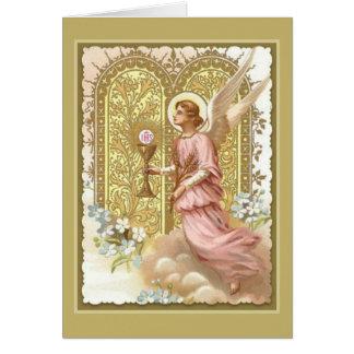 Cartão Anjo celestial com Eucaristia