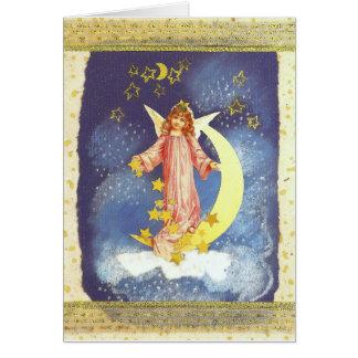Cartão anjo com meia-lua em azul