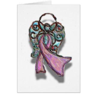Cartão Anjo cor-de-rosa da fita