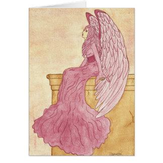 Cartão Anjo cor-de-rosa Notecard