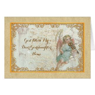 Cartão Anjo da arte do vintage do Goddaughter