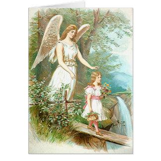 Cartão Anjo-da-guarda e menina