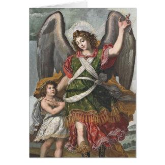 Cartão Anjo-da-guarda espanhol e criança