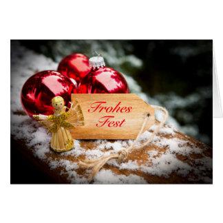 Cartão Anjo, de palha, Weihnachtskugeln e Fest' Alegre, '