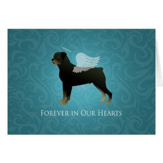 Cartão Anjo de Rottweiler - design memorável do animal de