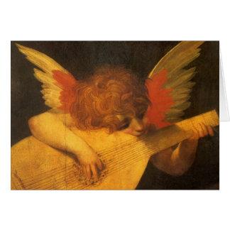 Cartão Anjo do músico da arte de renascimento por Rosso