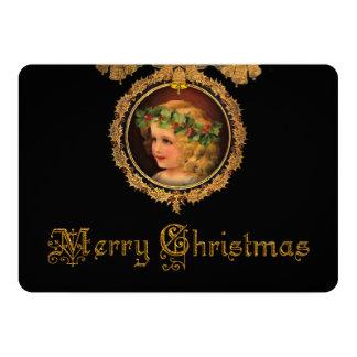 Cartão Anjo do natal vintage no quadro do azevinho do