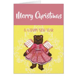 Cartão Anjo do urso do Feliz Natal