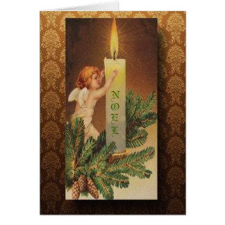 Cartão Anjo do Victorian e Natal da luz de vela