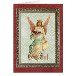 Cartão Anjo elegante do natal vintage do Victorian