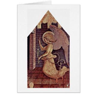 Cartão Anjo Gabriel do aviso por Carlo Crivelli