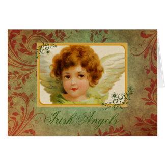 Cartão Anjo irlandês & bênção do vintage adorável