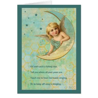 Cartão Anjo na lua crescente