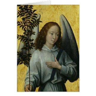 Cartão Anjo que guardara um ramo de oliveira