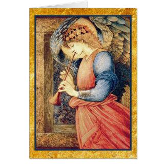 Cartão Anjo que joga um Natal do Flageolet