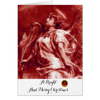 Cartão ANJO ROMÂNTICO, PENA, White Christmas VERMELHO