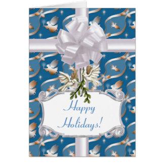 Cartão Anjos azuis e pombas