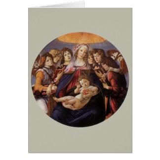 Cartão Anjos de w do Natal Madonna e da criança por