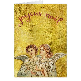 Cartão Anjos dourados do canto do vintage Joyeux Noel