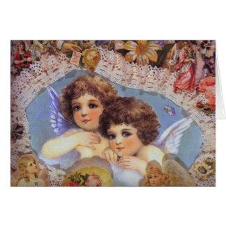 Cartão Anjos e laço do vintage