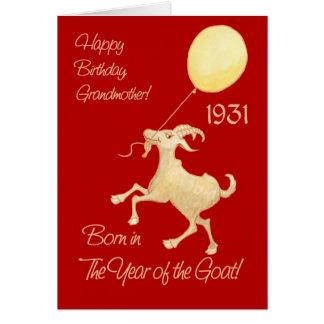Cartão Ano chinês do aniversário 1931 da avó da cabra