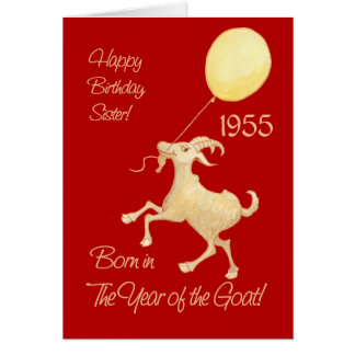 Cartão Ano chinês do aniversário da cabra 1955 para a