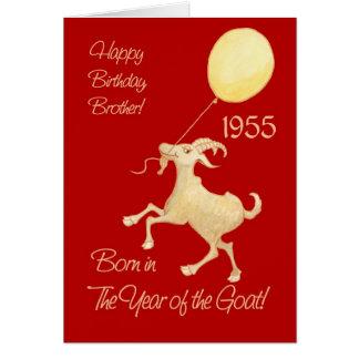 Cartão Ano chinês do aniversário da cabra 1955 para o