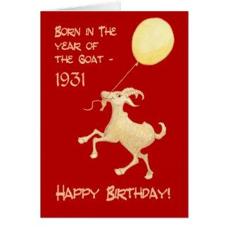 Cartão Ano chinês do nascer em 1931 do aniversário da