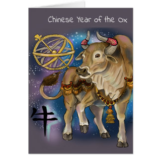 Cartão Ano chinês do zodíaco do boi
