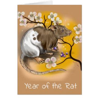 Cartão Ano chinês do zodíaco do rato