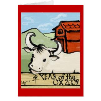 Cartão Ano da fazenda 2009 do boi