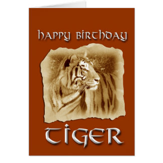 Cartão Ano de aniversário do tigre! Zodíaco-Vintage