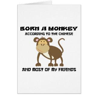 """Cartão Ano engraçado do macaco """"nascer um macaco """""""