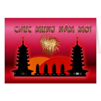 Cartão Ano lunar vietnamiano de ano novo do Moi de Chuc