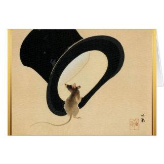 Cartão Ano novo chinês do rato e do chapéu alto do rato