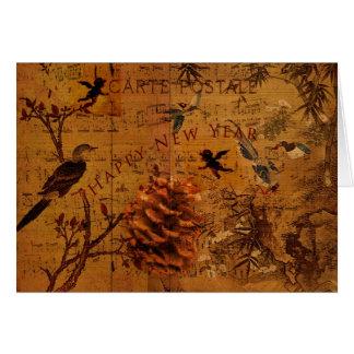 Cartão Ano novo da canção do pássaro