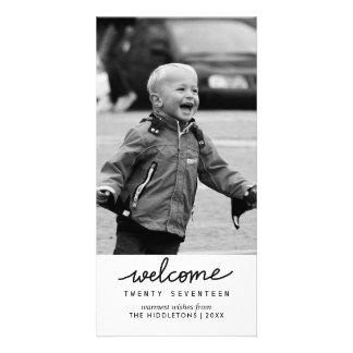Cartão Ano novo da tipografia escrita à mão da boa vinda
