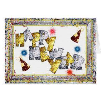 Cartão Ano novo de Happpy no vitral