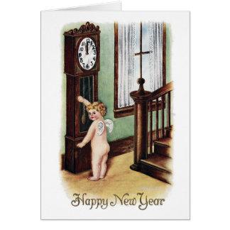 Cartão Ano novo do bebê e pulso de disparo de primeira