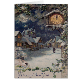 Cartão Ano novo do pulso de disparo da vila do inverno