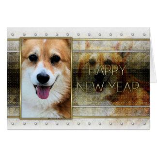 Cartão Ano novo - elegância dourada - Corgi - Owen