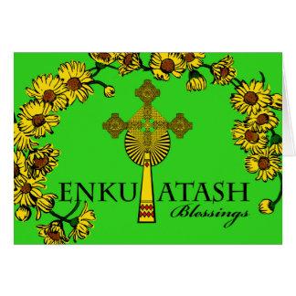 Cartão Ano novo etíope, Enkutatash, cruz e flores