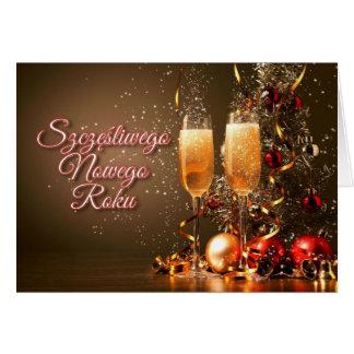 Cartão Ano novo no polonês - Szczęśliwego Nowego Roku