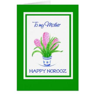 Cartão Ano novo persa dos jacintos bonito, para a mãe