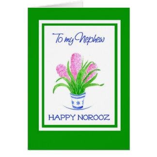 Cartão Ano novo persa dos jacintos bonito, para o
