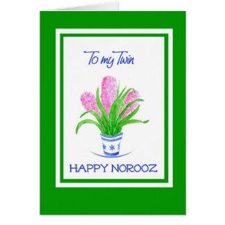 Cartão Ano novo persa dos jacintos bonito para o gêmeo
