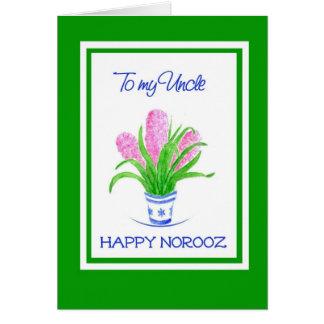 Cartão Ano novo persa dos jacintos bonito para o tio