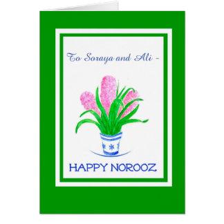 Cartão Ano novo persa tardivo dos jacintos dianteiros