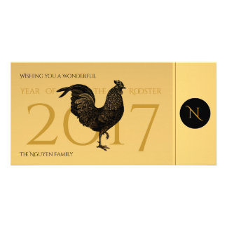 Cartão Ano novo vietnamiano 2017 do galo do vintage